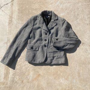 Ann Taylor Herringbone checkered blazer black 8